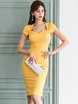 Sweet-Heart Neck Irregular Hem Bodycon Dress