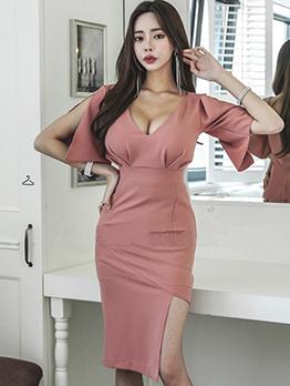 Sexy Low-Cut Fitted Split Hem Dress