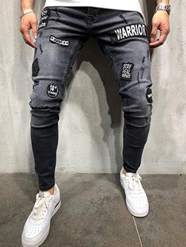 Fashion Letter Label Pencil Pants For Men