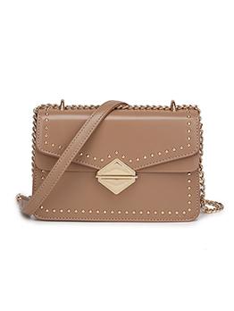 Rivet Longline Decor Hasp Square Shoulder Bag