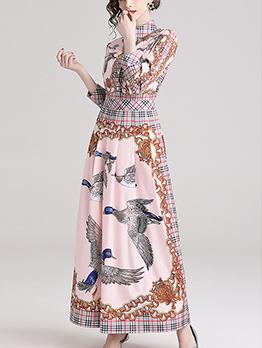 Fashion Printing Turndown Collar Maxi Dresses