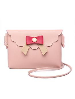 Contrast Color Bow Flap Hasp Mini Crossbody Bag