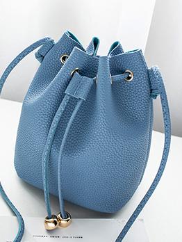 Minimalist Style Solid Drawstring Bucket Bag