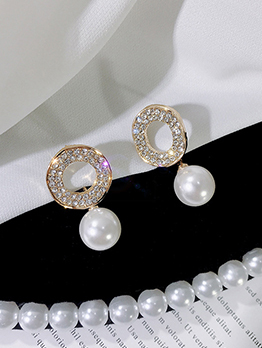 Faux Pearl Geometric Design Rhinestone Ladies Earrings