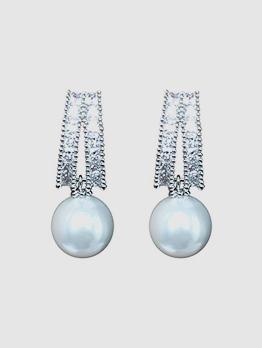 Elegant Zircon Pearl Stud Earrings