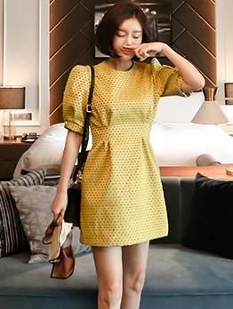 Stylish Printed Puff Sleeve High Waist Yellow Dresses
