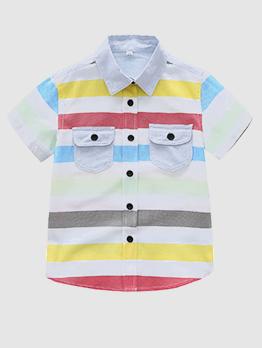 Colorful Striped Turndown Neck Pocket Kid Shirt