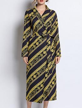 Euro Contrasting Colors Binding Wrap Midi Dresses