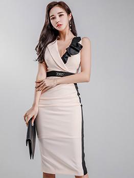 Stylish Lapel Ruffles Contrasting Colors Apricot Dresses