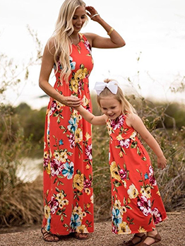 Flower Crew Neck Sleeveless Maxi Dress Family Set