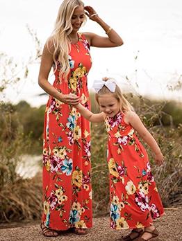 Flower Crew Neck Sleeveless Maxi Dress Family Set