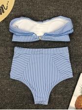 Boat Neck Ruffled Striped Bikini Sets