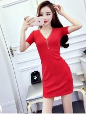 V Neck Patchwork Lace Bodycon Dress