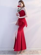 Sexy V Neck Gauze Backless Strapless Maxi Dress