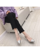 Stylish Pointed Toe Patchwork Clear Pumps