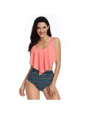 Summer Ruffles Binding Printing Swimsuits