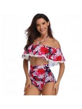Euro Printing High Waist Ruffles Bikini