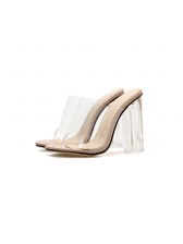 Sexy PVC Chunky Heel Clear Slippers