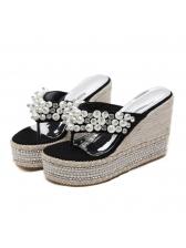 Summer Pearl Flip Flop Wedges Slippers