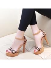 Korean Design Leopard Printed Ankle Buckle Sandals
