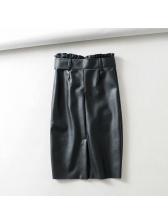 Minimalist Binding Pu Black Skirt For Women