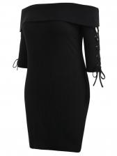 Tie-wrap Curve Off Shoulder Plus Size Dress