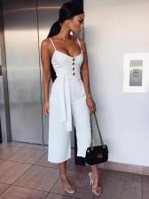 Sexy V Neck Tie-wrap Straps Solid Wide Leg Jumpsuit