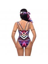 Deep V Neck Backless Printed One Piece Swimwear