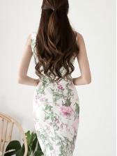 Floral V Neck Sleeveless Fitted Dress