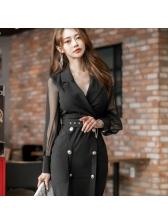 Lapel Patchwork Fitted Blazer Dress