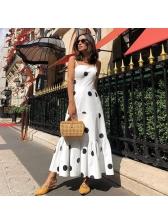 Polka Dot Square Neck Pleated Straps Maxi Dress
