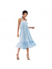 Solid Flounce Hem Tie-Wrap Halter Dresses
