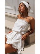 Wrapped-Chest Ruffled Solid Romper For Women
