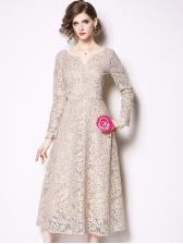 Vintage V Neck Hook Flower Lace Dress