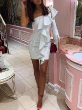 Ruffled One Shoulder Striped Long Sleeve Dress