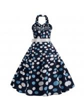 Sweat-Heart Neck Polka Dots Halter Dress