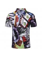 Summer Turndown Neck Printed Polo Shirts