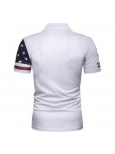 Star Printed Casual Short Sleeve Polo Shirt