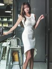 Lace Patchwork Irregular Sleeveless Dress Pattern