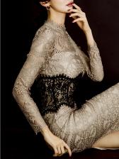 Temperament Lace Contrast Color Bodycon Dress