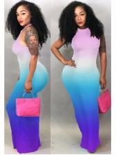 Round Neck Backless Iridescent Maxi Dresses