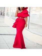 One Shoulder Ruffled Solid Woman Maxi Dress