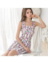 Ol Style Square Neck Floral Sleeveless Dress