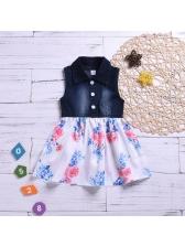 Denim Patchwork Flowers Girls Dresses
