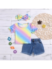 Casual Rainbow Denim Baby Set