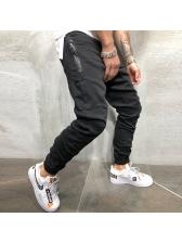 Solid Zipper Pleated Man Casual Long Pants