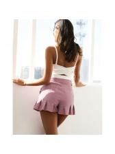 Simple Design Ruffles Corduroy Shorts For Women