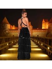 Solid Sexy Dot Ruffle Hem Maxi Dresses