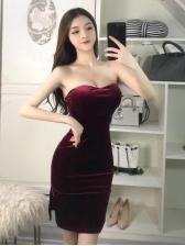 Velvet Slit Strapless Bodycon Dress