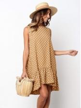 Ruffle Sleeveless Polka Dot Dress